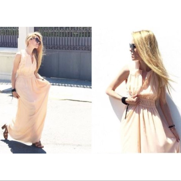 f830d44d Zara Long maxi Nude Pink Dress, cape sleeve NWT NWT